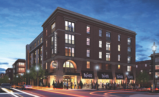 The Landmark at Kent exterior nighttime rendering